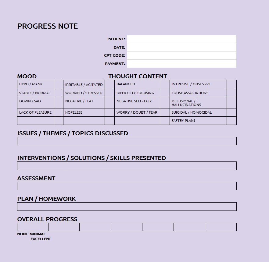 PDF progress note (28 pages) - sle therapy note template 5 free - progress note