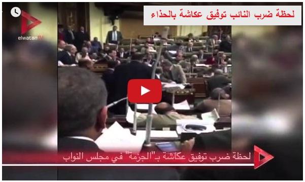 """بالفيديو لحظة الاعتداء على النائب توفيق عكاشة """" بالضرب بالحذاء """" داخل قبة البرلمان"""