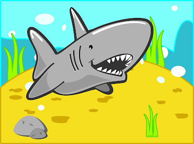 A cartoon shark swims over an underwater mound.