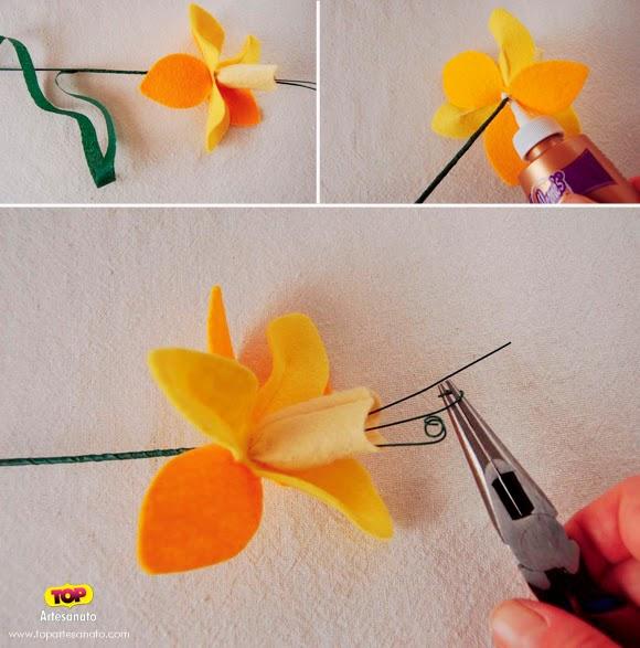 Artesanato Com Feltro Passo A Passo ~ Eu Amo Artesanato Flores de feltro passo a passo