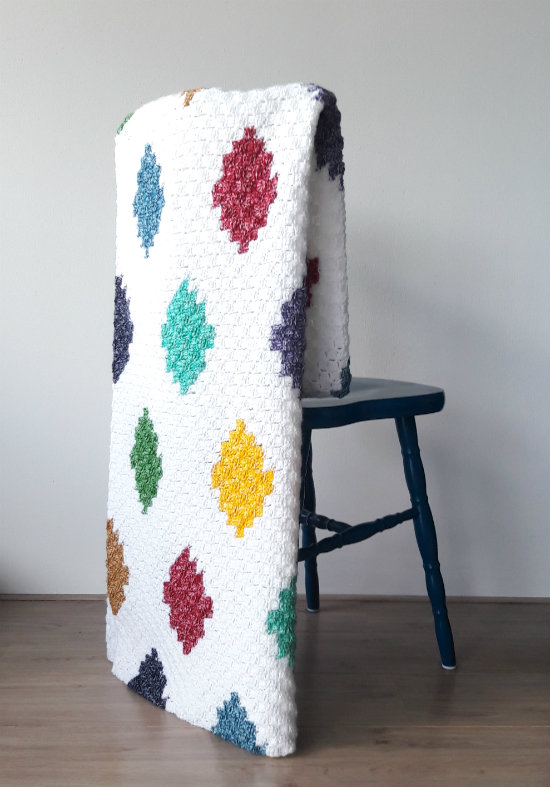 C2C harlequin blanket, crochet pattern by Happy in Red