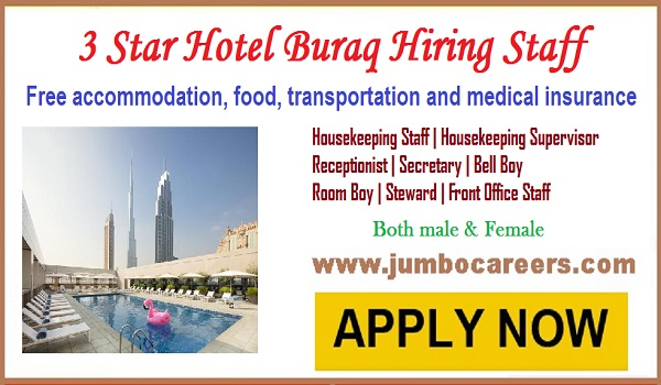 3 star hotel jobs with accommodation in Dubai, Hotel Buraq latest job careers,