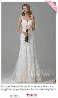 www.cocomelody.com/fabulous-sheath-column-straps-natural-train-lace-ivory-sleeveless-backless-wedding-dress-with-appliques-cwvt15002.html