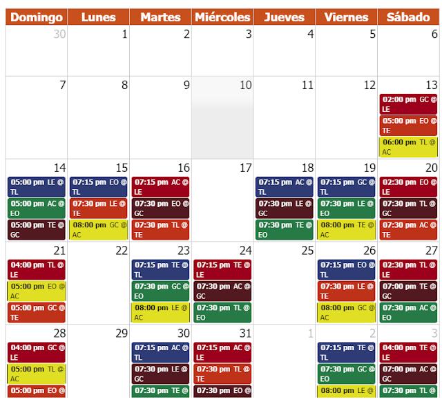 Calendario Béisbol invernal Temporada 2018-2019