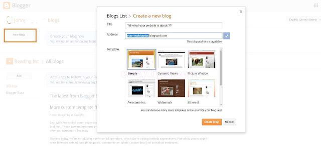 Create a new website/ blog at blogger.com: