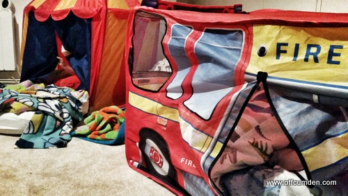 Sleeping in play tents