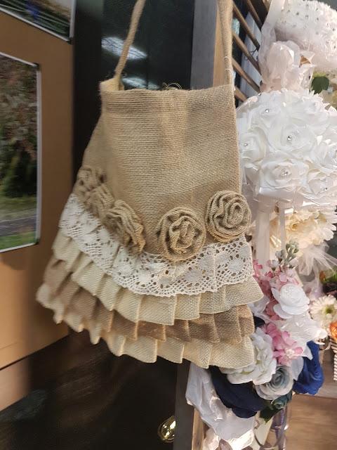 burlap bag with ruffles, The Camellia