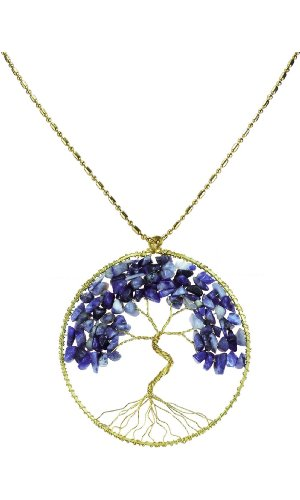 Blue tree necklace