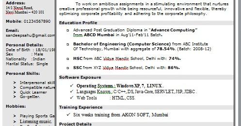 single page resume doc