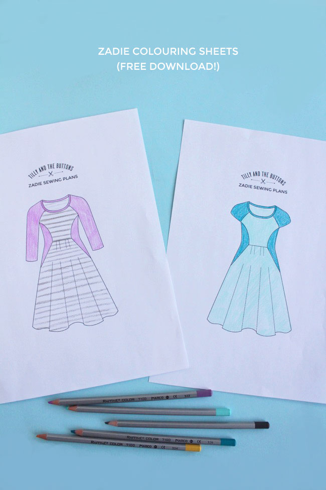 Zadie colouring sheets - free download to plan your dress designs!