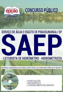 Apostilas do SAEP Pirassununga 2018: LEITURISTA, HIDROMETRISTA e PEDREIRO: