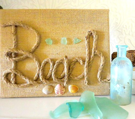 beach art diy burlap canvas with rope font coastal decor ideas and interior design. Black Bedroom Furniture Sets. Home Design Ideas
