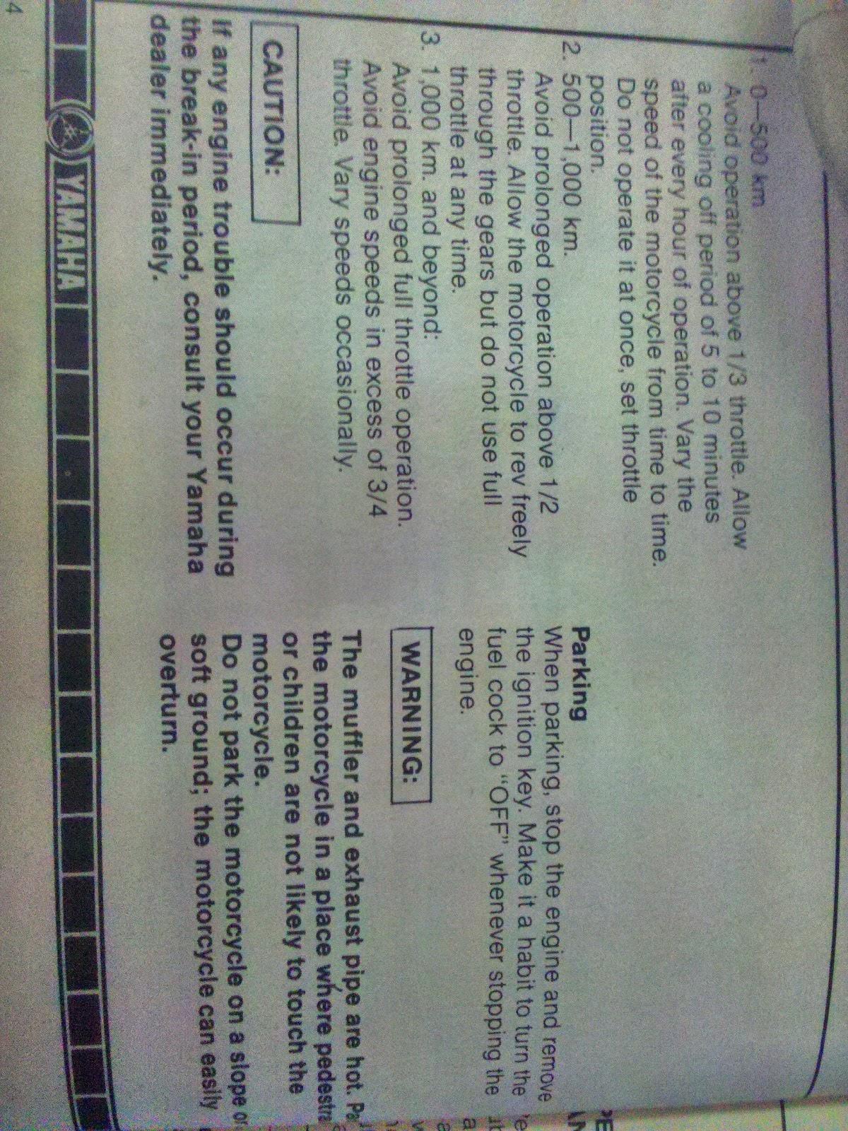 Rare Motorcycle  Yamaha Rx 100 Owners Manual
