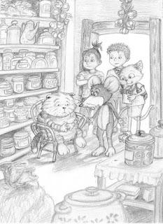 Kinderbuchillustration, Bleistift, Katze, Kater, Kinder, Tiere