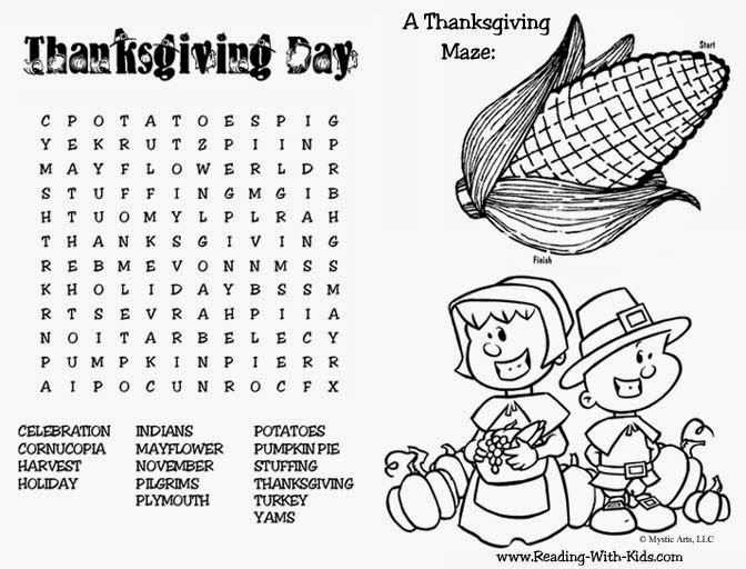 thankgiving activity and coloring pages - photo#4