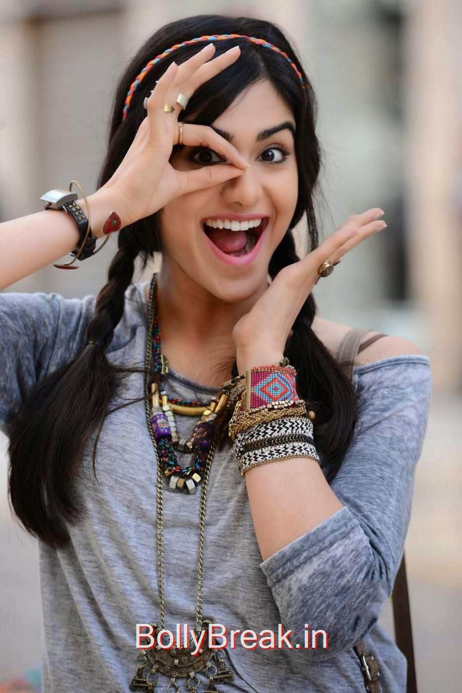 Tollywood Actress Adah Sharma, Adah Sharma Hot Pics In Grey and White Top