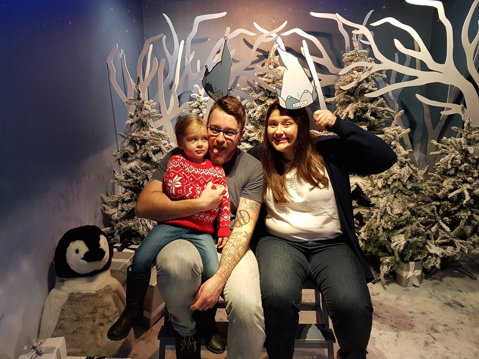 family picture with funny faces at harrods christmas grotto 2016