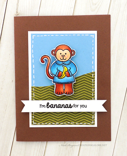Sunny Studio Stamps: Comfy Creatures Monkey Bananas For You Card by Creations Galore