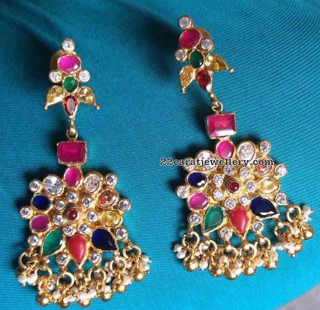 92.5 silver Navaratan Stone Set with Large earrings