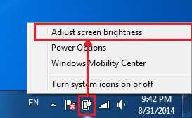 Adjust screen brightness