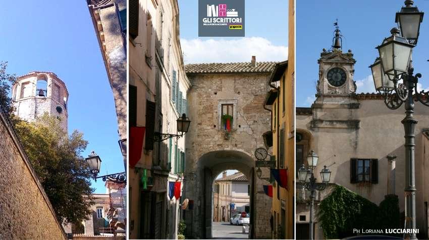 Torre civica, Porta romana e Piazza Marconi, con il palazzetto dell'Orologio