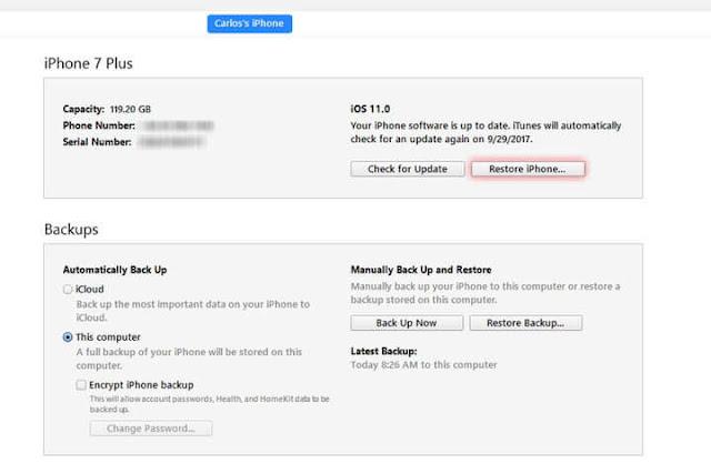 كيفية الرجوع من iOS 11 إلى iOS 10.3.3 downgrade restore