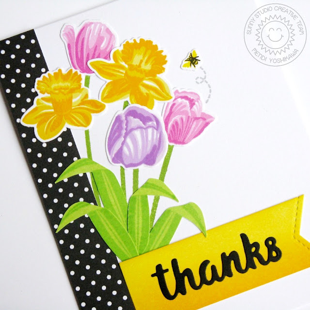 Sunny Studio Stamps: Tulip & Daffodil Spring Bouquet Thank You Card by Mendi Yoshikawa