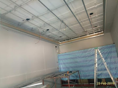 Pemasangan rangka besi siling pejabat