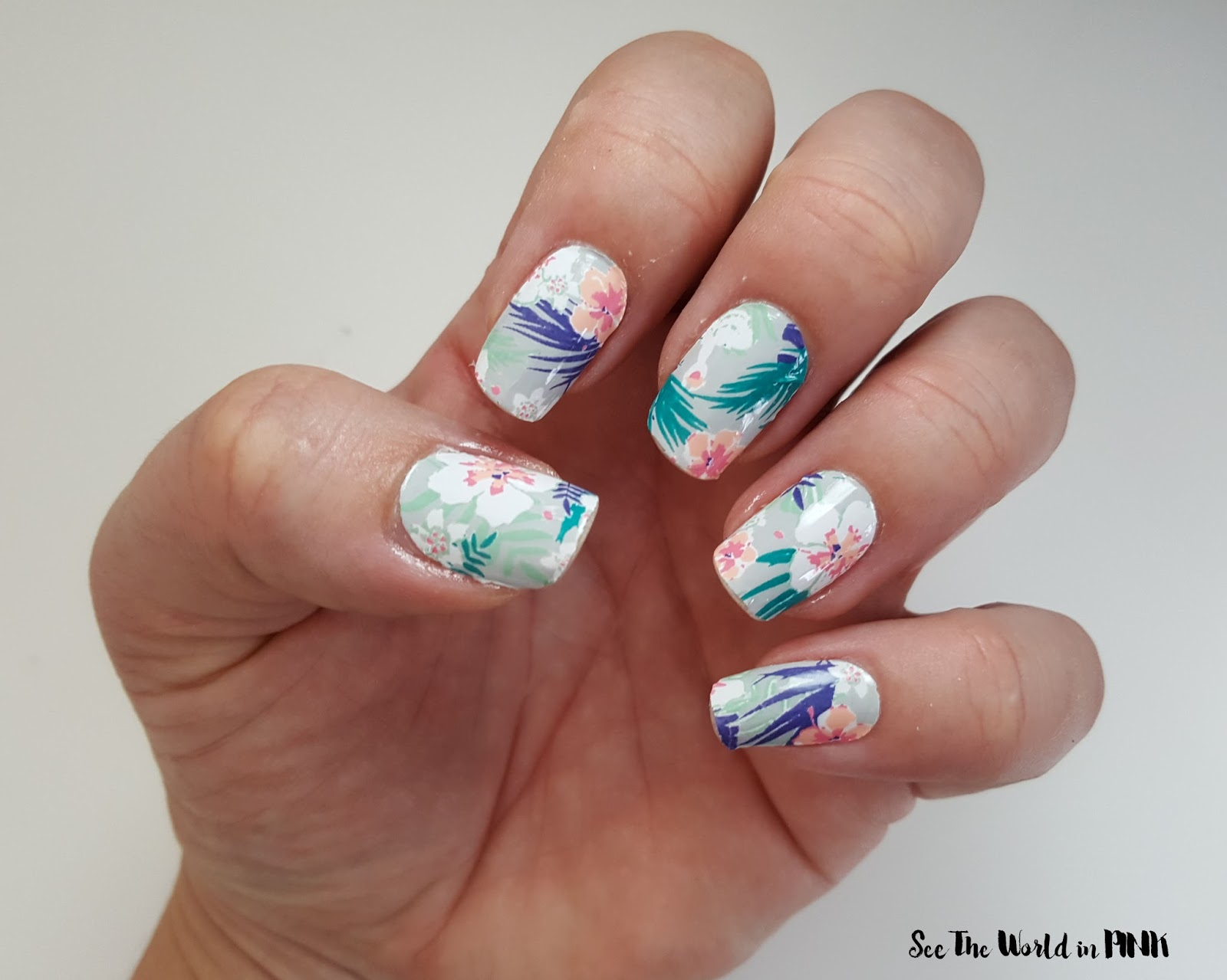 Manicure Tuesday - Scratch and NinaNailedIt Tropical Floral Wraps!