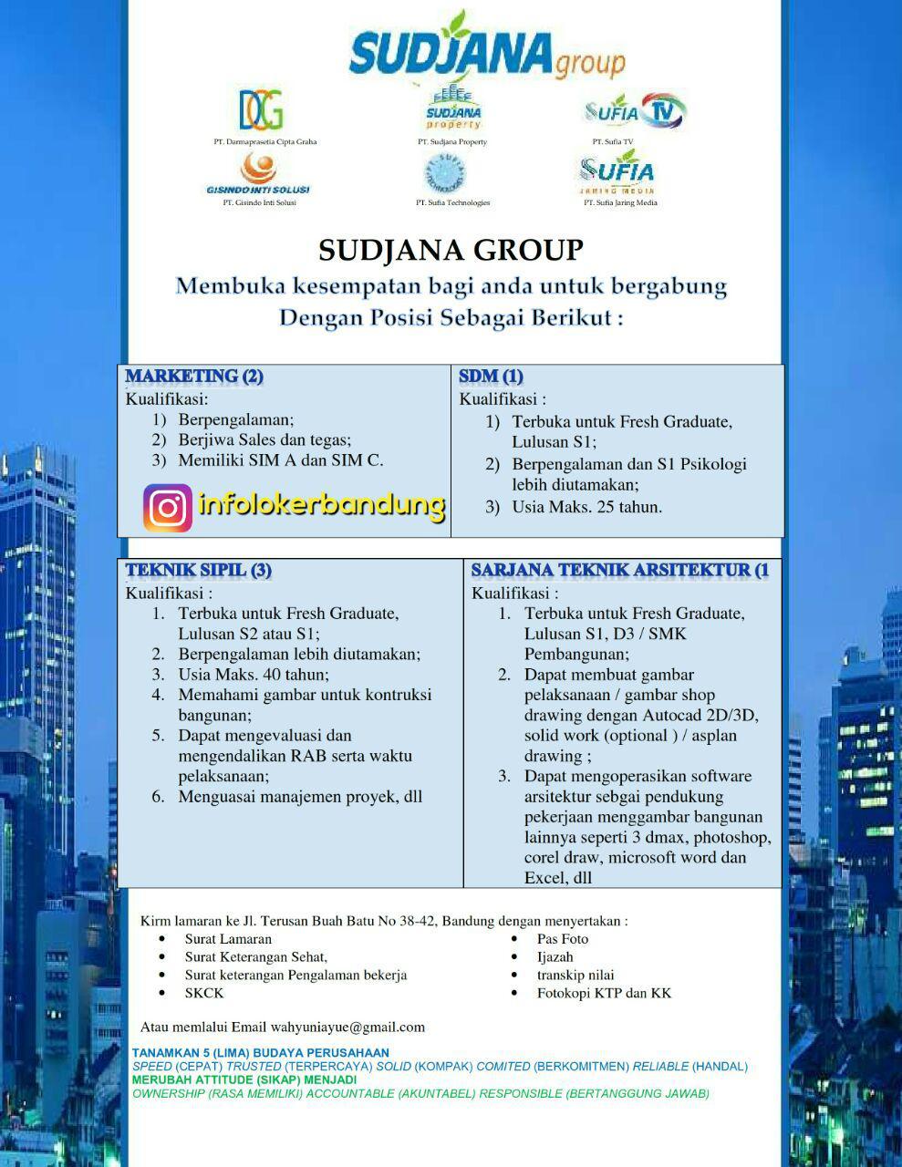 Lowongan Kerja Sudjana Group Bandung Juli 2017