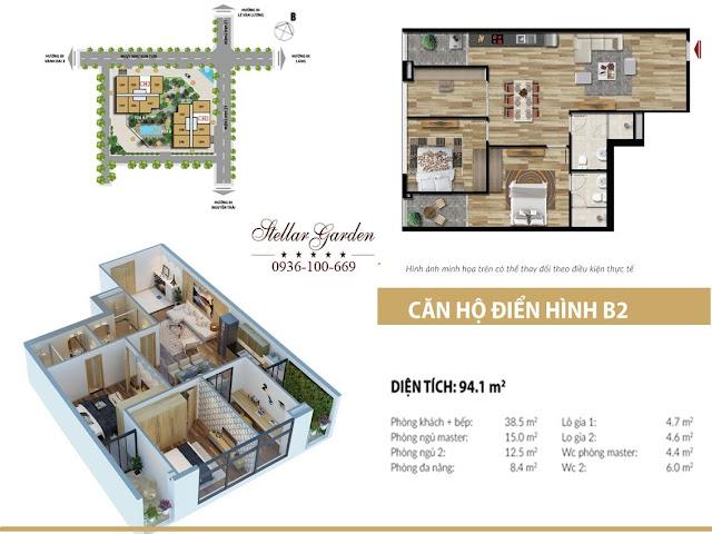 Layout mặt bằng căn hộ 94,1m2 dự án Stellar garden 35 Lê Văn Thiêm