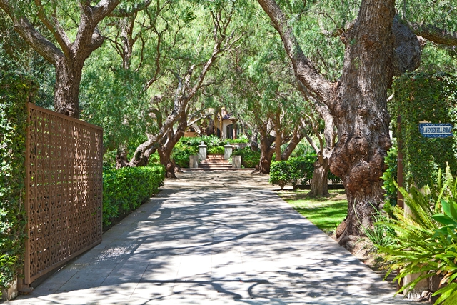Entrance to the Mel Gibson Celebrity Home property, Lavender Farm Hill, Malibu, California