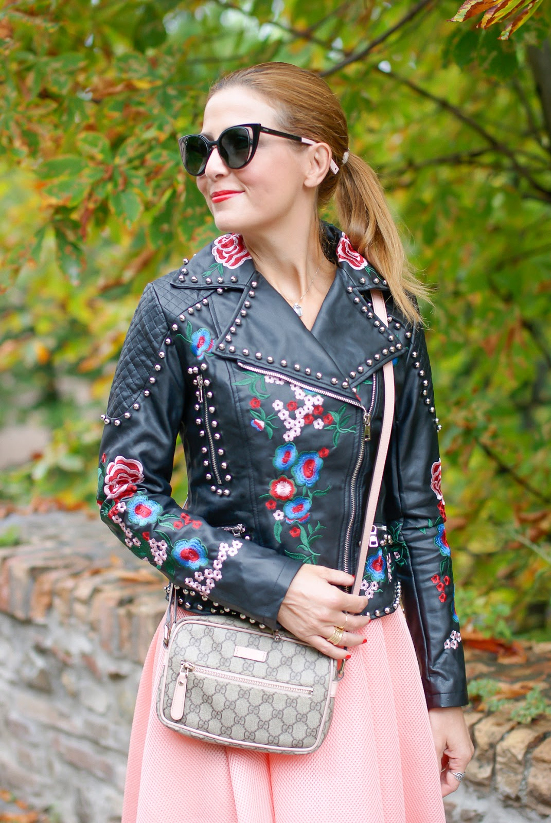 Paccio Embroidered faux leather biker jacket on Fashion and Cookies fashion blog, fashion blogger style