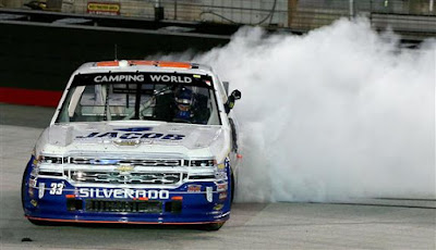 In the photo above, Ben Kennedy, driver of the #33 Jacob Chevrolet, does a burnout after winning the #NASCAR Camping World Truck Series UNOH 200