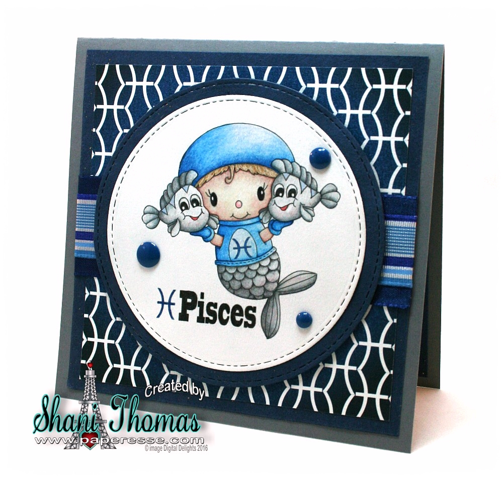 Paperesse: Pisces Birthday Card Idea With Digital Delights Pisces Stamp And Paper