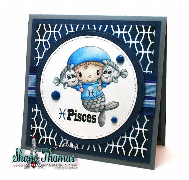 Pisces birthday card with Digital Delights Pisces stamps and paper, design by Paperesse.