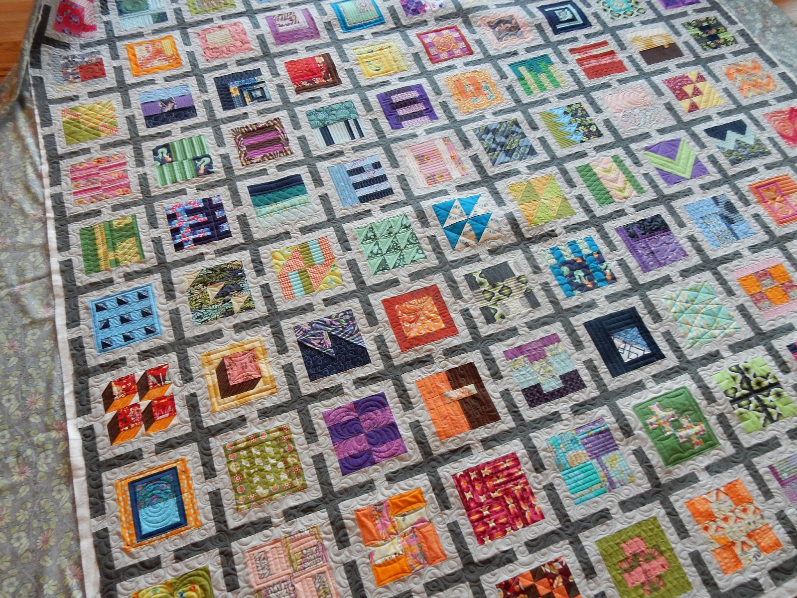 "Julie's ""Tula Pink"" 100 block city sampler quilt"