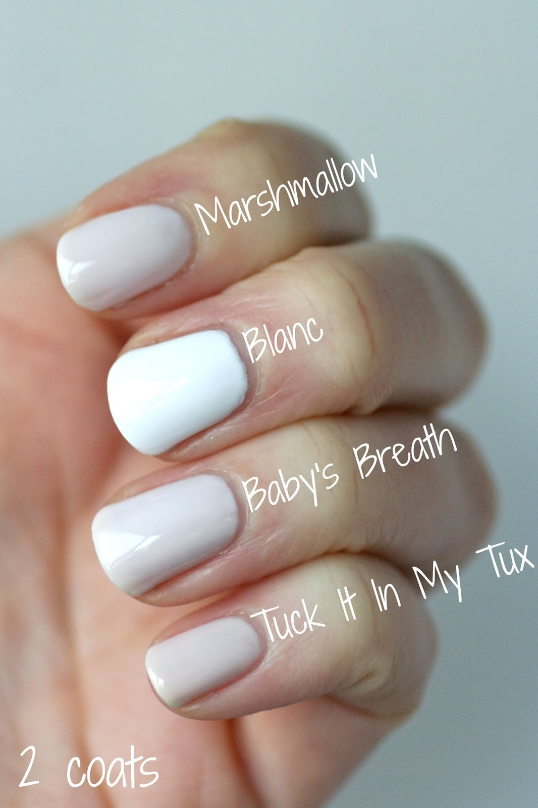 Essie Whites Comparison  Limoscene, Marshmallow, Tuck It