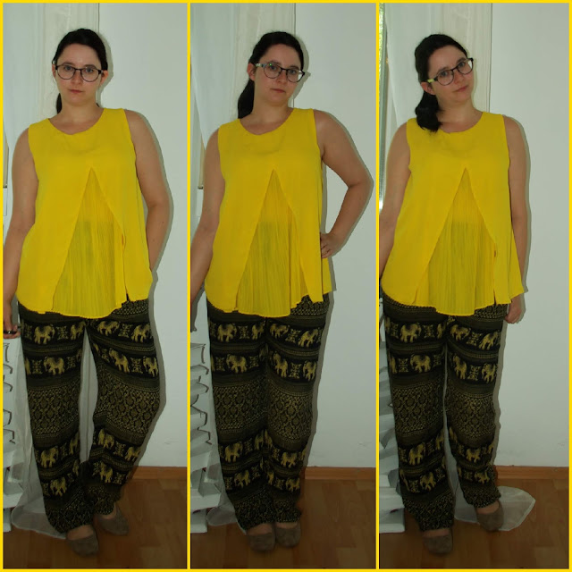 [Fashion] Shine Brighter than the Sun: Luftige Hose mit Elefanten-Print und sonnengelbes Chiffon-Top