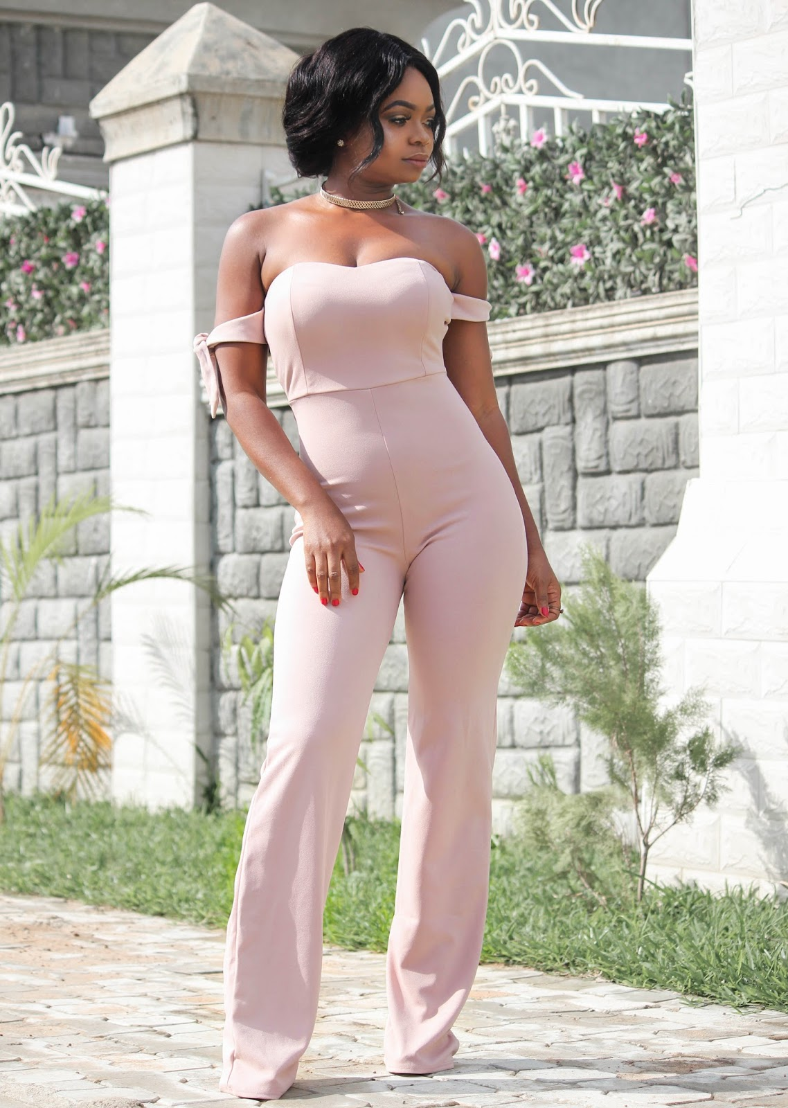 NUDE JUMPSUIT - Hot Miami Styles Nude Off Shoulder Tie Knot Jumpsuit