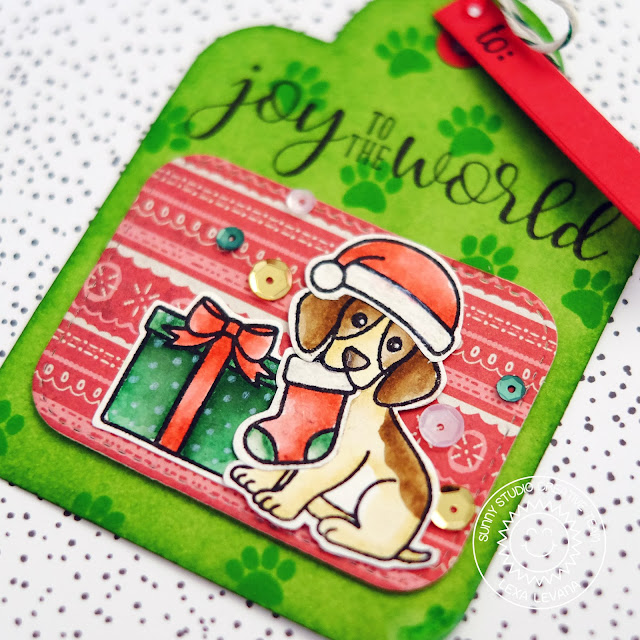 Sunny Studio Stamps: Puppy with Stocking gift tag (using Pet Sympathy, Christmas Icons, Festive Greetings, Playful Polar Bears & Crescent Tag Topper Dies) by Lexa Levana