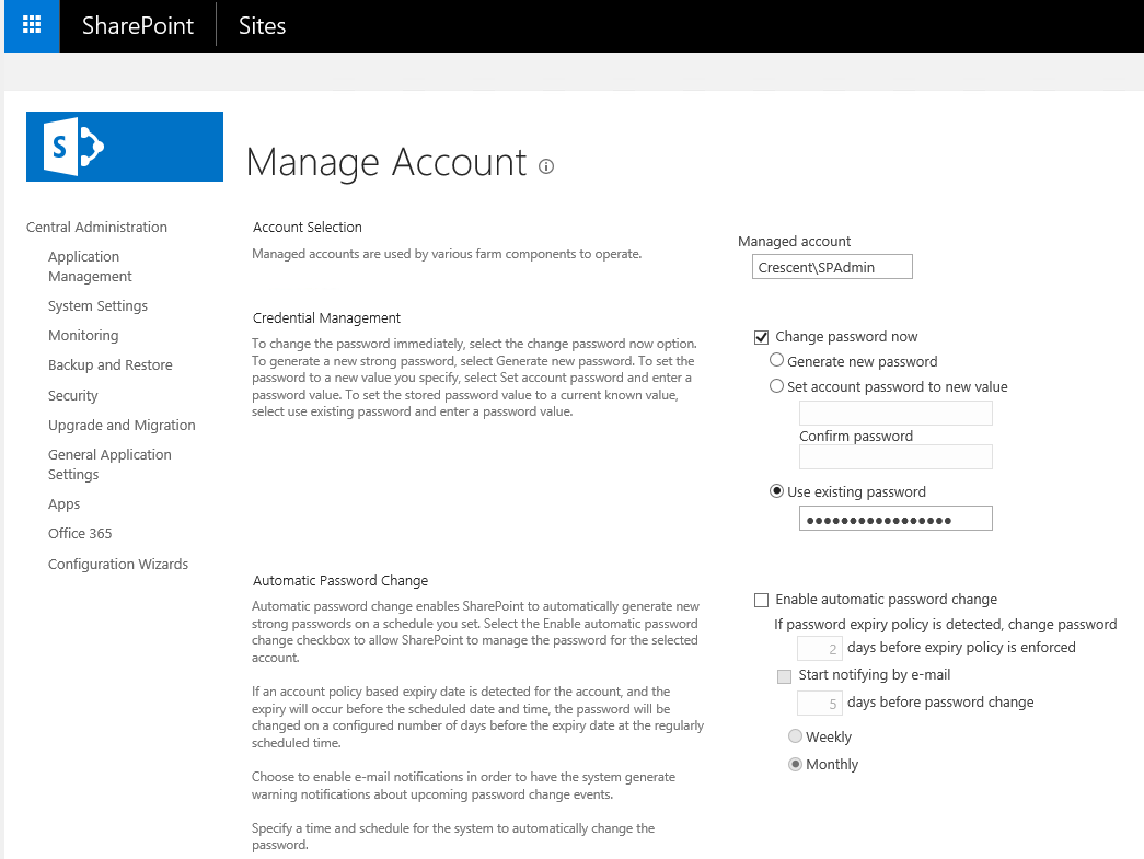 sharepoint 2013 reset farm account password