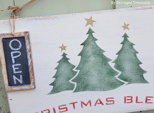 Stenciled Christmas Blend hot cocoa sign with chalkboard tag