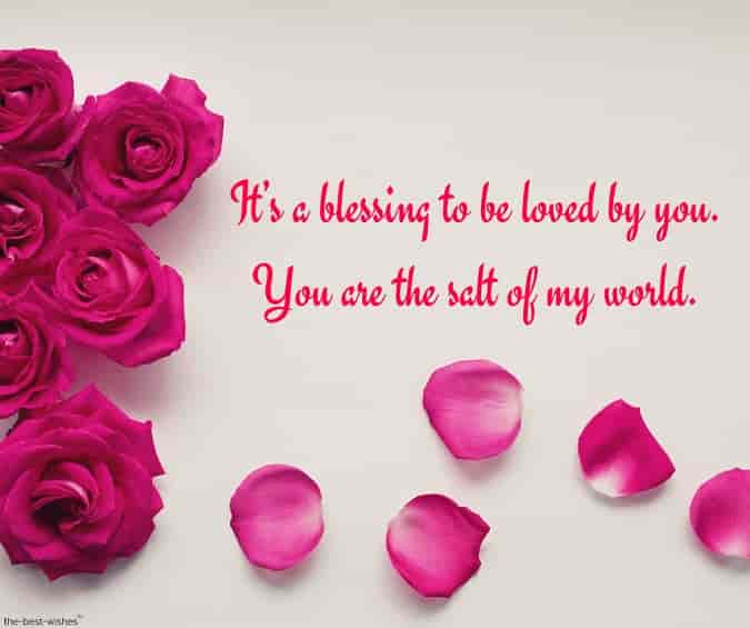 blessed text message for her with rose petals