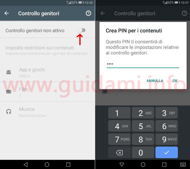 Impostazioni Google Play schermata attivazione Controllo genitori