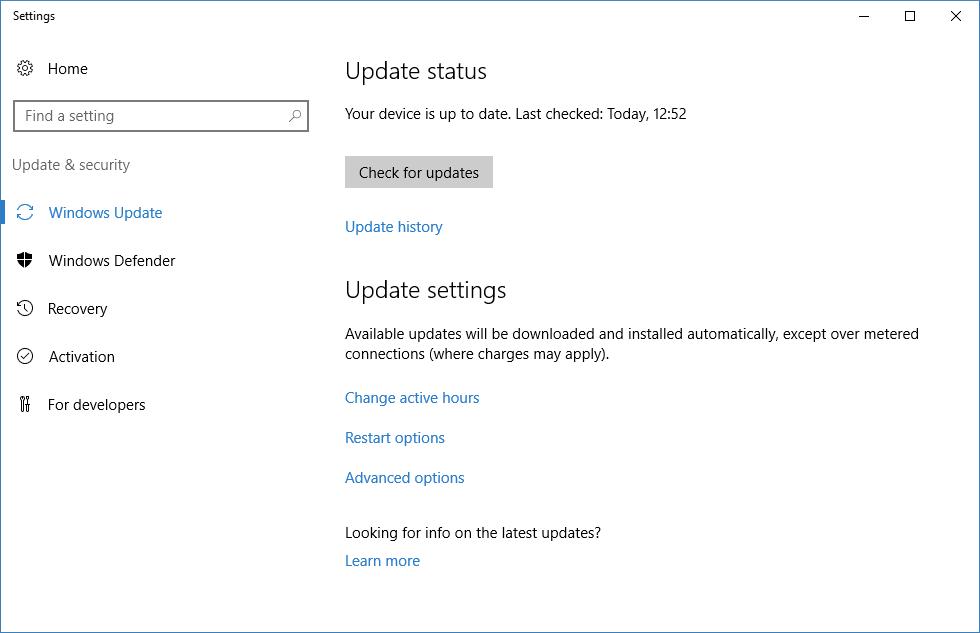 Windows Server 2016 - Windows Update User Interface in