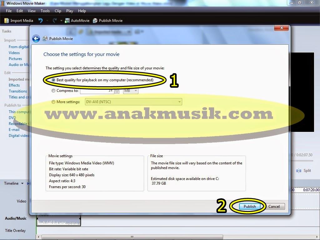 6. Cara Mudah Menggabungkan Lagu dan Video di Movie Maker