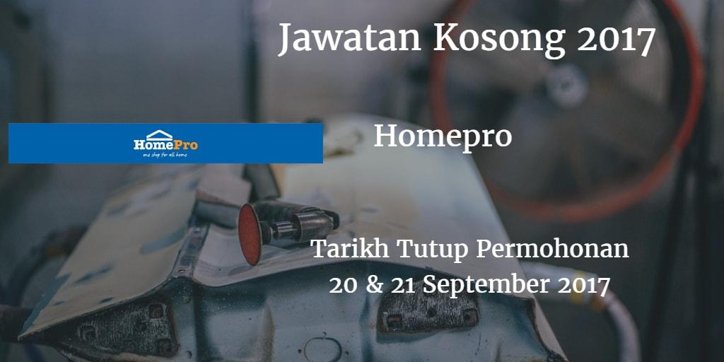 Jawatan Kosong HomePro 20 & 21 September 2017