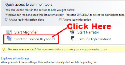 how to open onscreen keyboard from control panel