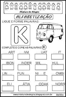 Atividades de alfabetização letra K